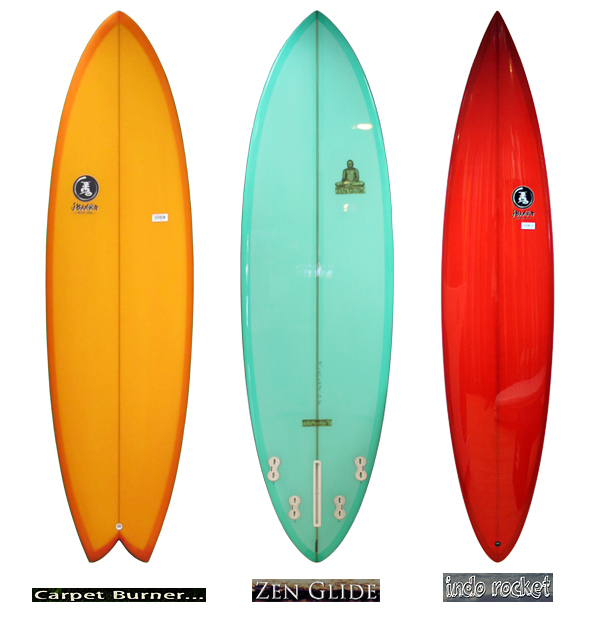 A picture showing three of the Jim Banks models Down The Line Surf Co. is currently stocking.