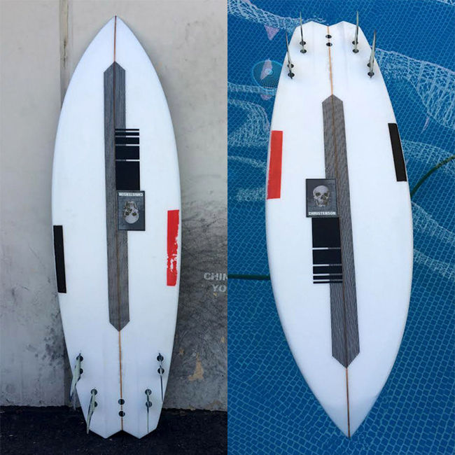 Image showing two views of the Christenson 'Mescaline' surfboard.