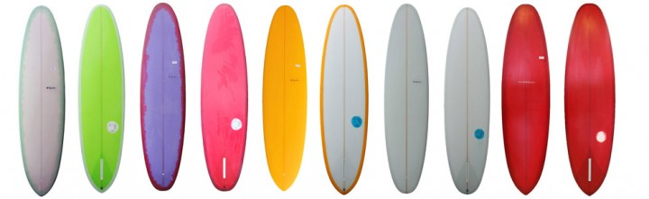 A selection of different V.Bowls surfboards