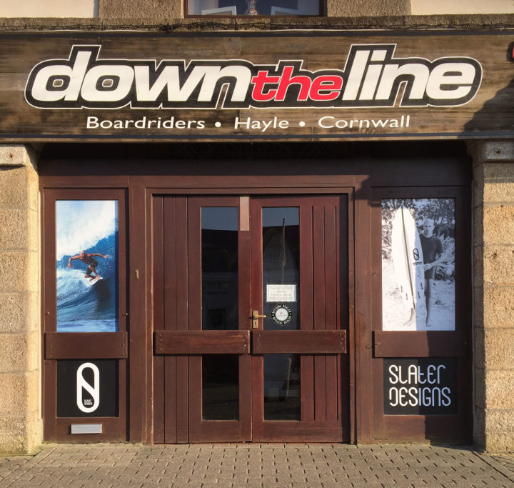 The front of Down the Line Surf Co Shop with doors closed