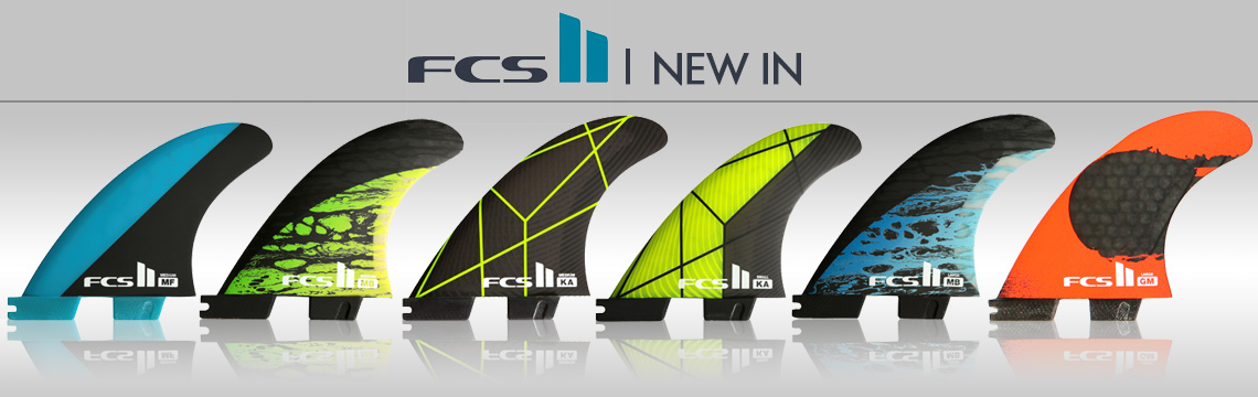 Large range of FCS fins, boardbags and accessories